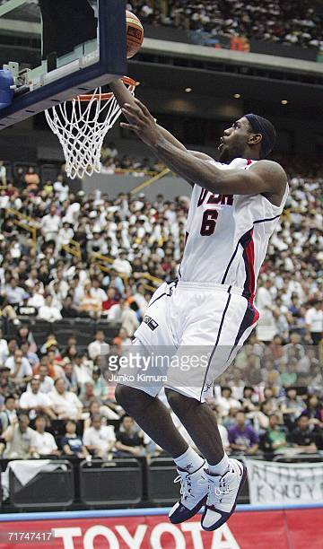 LeBron James of USA shoots against Germany during the FIBA World Championship 2006 QuarterFinals on August 30 2006 in Saitama Japan The Championship...