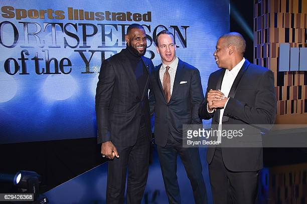 LeBron James Peyton Manning and Jay Z attend the Sports Illustrated Sportsperson of the Year Ceremony 2016 at Barclays Center of Brooklyn on December...