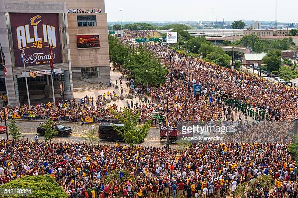 LeBron James points at the crowd during the Cleveland Cavaliers 2016 NBA Championship victory parade and rally on June 22 2016 in Cleveland Ohio The...