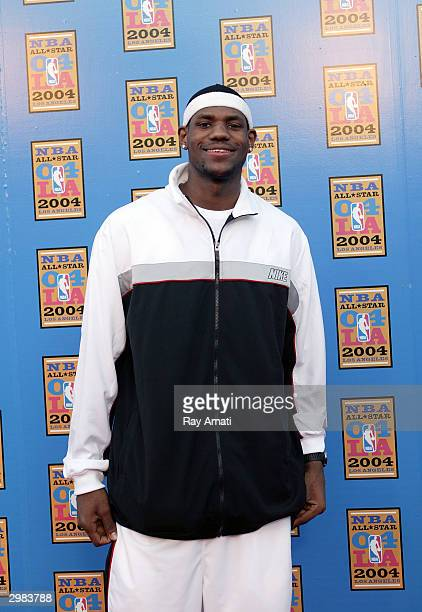 LeBron James poses during NBA All-Star arrivals, part of the 53rd NBA All-Star weekend on February 14, 2004 at the Staples Center in Los Angeles,...
