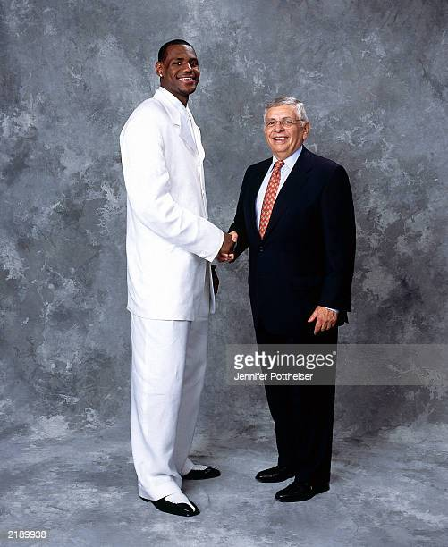 LeBron James poses for a portrait with Commissioner David Stern on draft night on June 26 2003 at Madison Square Garden in New York New York NOTE TO...