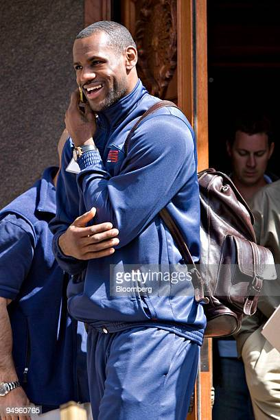 LeBron James professional basketball player for the Cleveland Cavaliers center talks on his cell phone during a lunch break at the Allen Co Media and...