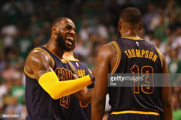 LeBron James reacts with Tristan Thompson of the Cleveland Cavaliers in the second half against the Boston Celtics during Game One of the 2017 NBA...