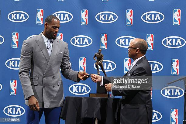 LeBron James receives the 201112 KIA NBA Most Valuable Player Award along with keys to a donated new KIA Sorento CUV to Akron Public School After...