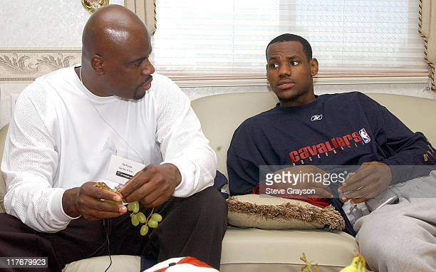 LeBron James right with his agent Aaron Goodwin at the Great Western Forum to film a commercial after two exhibition games in Los Angeles