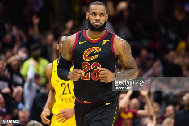 LeBron James runs back on defense after scoring against the Indiana Pacers during the first half of Game 2 of the first round of the Eastern...