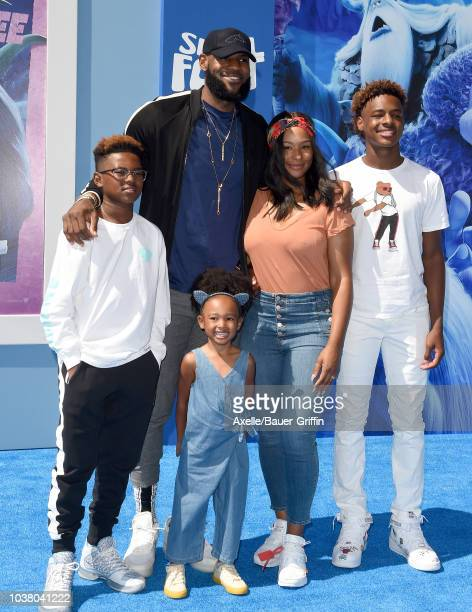 LeBron James Savannah James LeBron James Jr Bryce Maximus James and Zhuri James attend the premiere of Warner Bros Pictures' 'Smallfoot' at Regency...