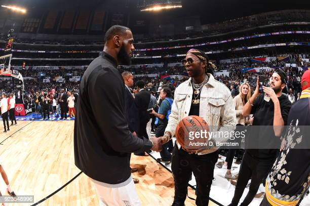 LeBron James shakes hands with 2 Chainz during the NBA AllStar Game as a part of 2018 NBA AllStar Weekend at STAPLES Center on February 18 2018 in...