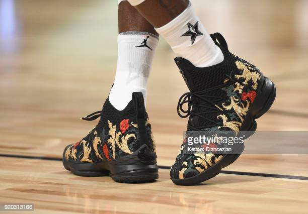 LeBron James' shoes on display during the NBA AllStar Game 2018 at Staples Center on February 18 2018 in Los Angeles California