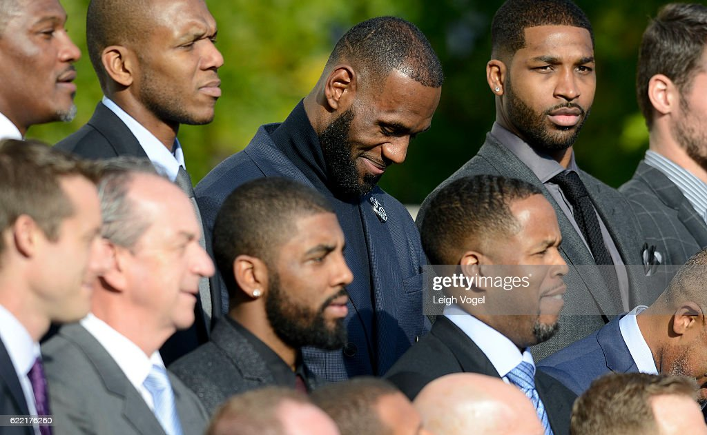 LeBron James smiles as President Obama welcomes the 2016 NBA Champions Cleveland Cavaliers to The White House on November 10, 2016 in Washington, DC.