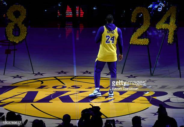 LeBron James speaks during the Los Angeles Lakers pregame ceremony to honor Kobe Bryant before the game against the Portland Trail Blazers at Staples...
