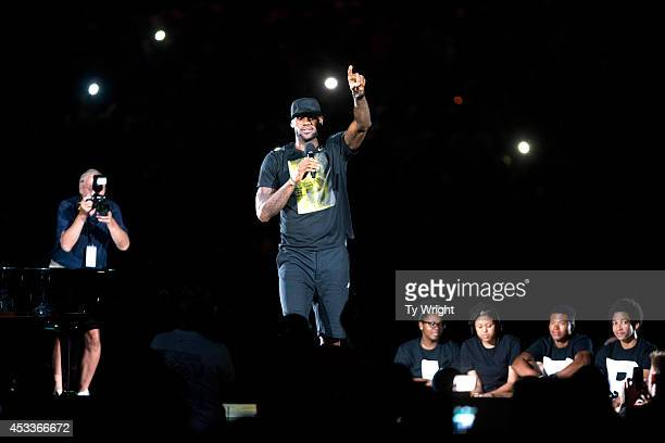LeBron James speaks to his fans in the city of Akron after taking the stage during his Welcome Home Ceremony at Infocision Stadium at the University...