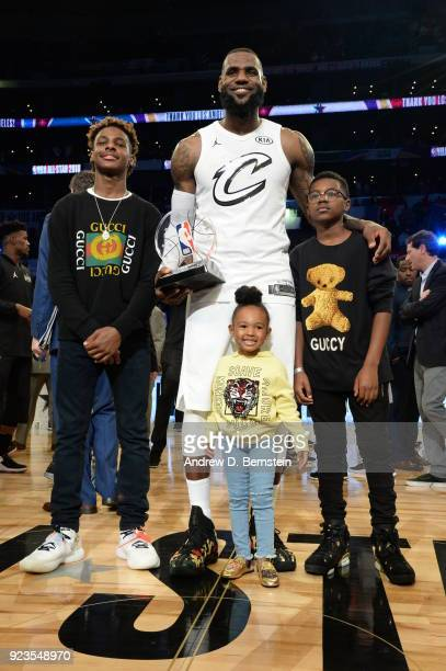 LeBron James stands with his MVP trophy after the NBA AllStar Game as a part of 2018 NBA AllStar Weekend at STAPLES Center on February 18 2018 in Los...