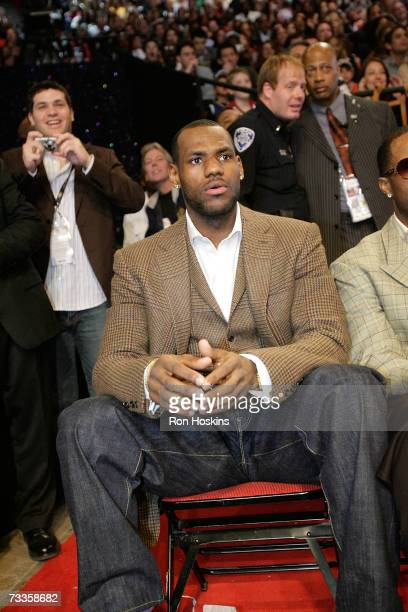 LeBron James watches the Sprite Slam Dunk Competition at NBA All-Star Weekend on February 17, 2007 at the Thomas & Mack Center in Las Vegas, Nevada....
