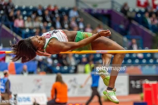 Lecabel Quaresma Portugal at high jump under Pentathlon for women at European athletics indoor championships in Belgrade on March 3 2017