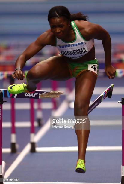 Lecabela Quaresma of Portugal competes in the 60 Metres Hurdles Womens Pentathlon during the IAAF World Indoor Championships on Day Two at Arena...