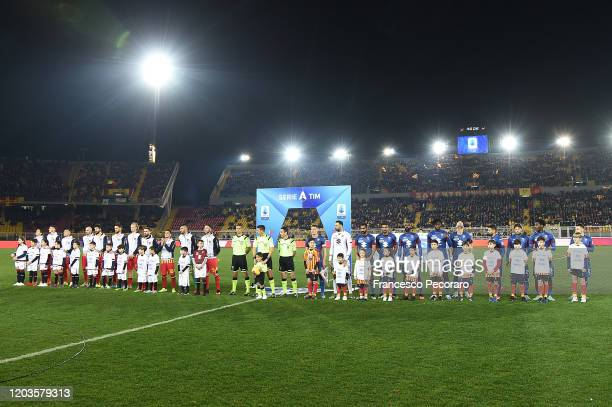 Lecce and Torino FC teams line up before the Serie A match between US Lecce and Torino FC at Stadio Via del Mare on February 02 2020 in Lecce Italy