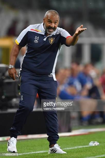 Lecce head coach Fabio Liverani issues instructions during the Serie A match between Torino FC and US Lecce at Stadio Olimpico di Torino on September...