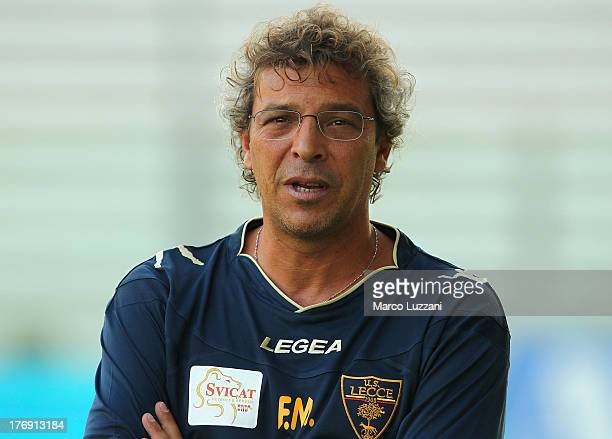 Lecce manager Francesco Moriero looks on before the TIM Cup match between Parma FC and US Lecce at Stadio Ennio Tardini on August 17 2013 in Parma...