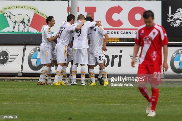 Lecce players celebrate a goal scored by Mariano Angelo during the Serie B match between US Grosseto FC and US Lecce at Stadio Olimpico on April 24,...