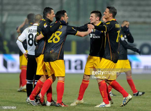 Lecce players celebrate their 10 goal scored by Javier Chevanton during the Serie A match between Parma FC and Lecce at Stadio Ennio Tardini on...