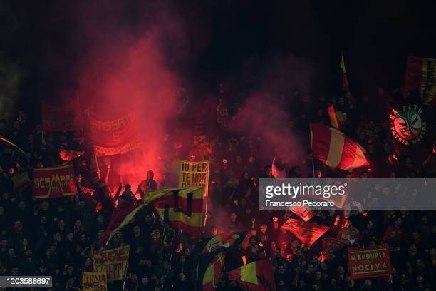 Lecce supporters during the Serie A match between US Lecce and Torino FC at Stadio Via del Mare on February 02 2020 in Lecce Italy