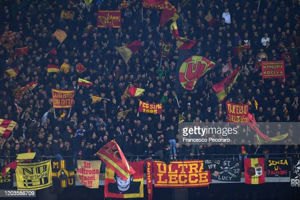 Lecce supporters during the Serie A match between US Lecce and Torino FC at Stadio Via del Mare on February 02, 2020 in Lecce, Italy.