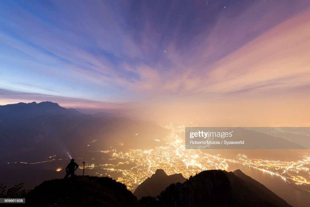 Lecco at sunrise, Lombardy, Italy : Stock-Foto