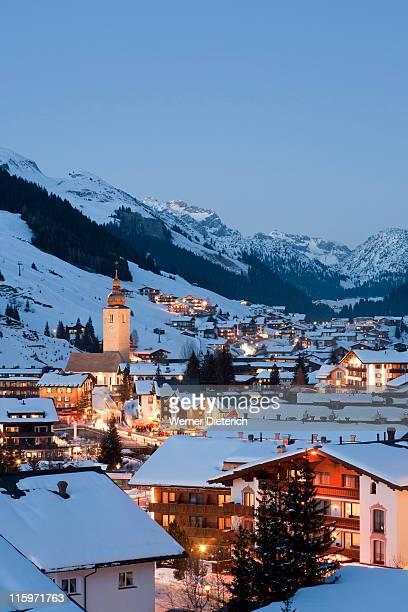 lech am arlberg ski resort in vorarlberg, austria - lech stockfoto's en -beelden
