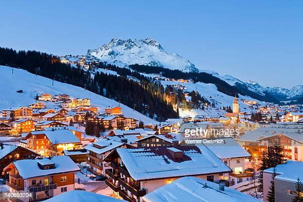 lech am arlberg ski resort,  vorarlberg, austria - lech stock pictures, royalty-free photos & images
