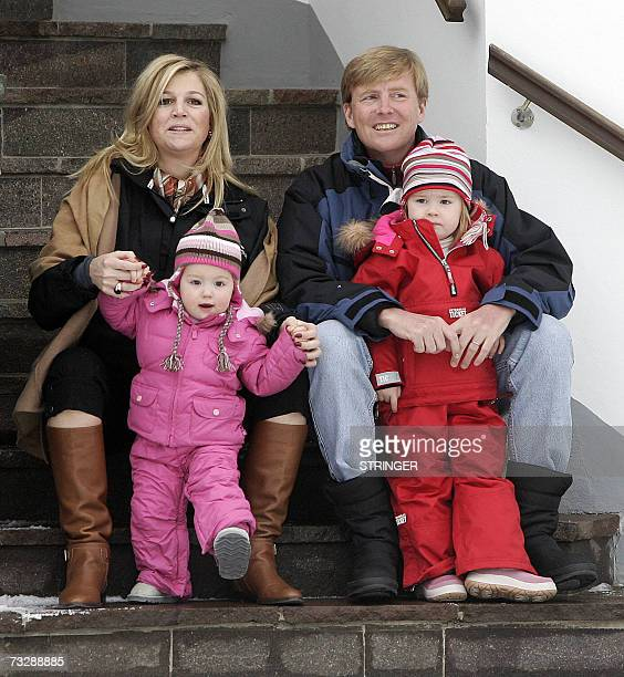 Prince Willem-Alexander of the Netherlands holds his daughter Catharina-Amalia and his wife Princess Maxima with daughter Alexia during a photo...