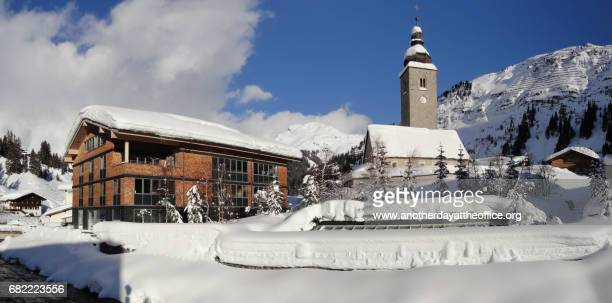 lech church vorarlberg - lech stock pictures, royalty-free photos & images