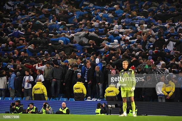 Lech Poznan fans turn their back on the game during the UEFA Europa League Group A match between Manchester City and KKS Lech Poznan at City of...