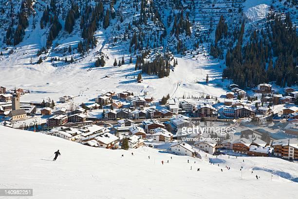 lech ski resort, austria - lech stock pictures, royalty-free photos & images