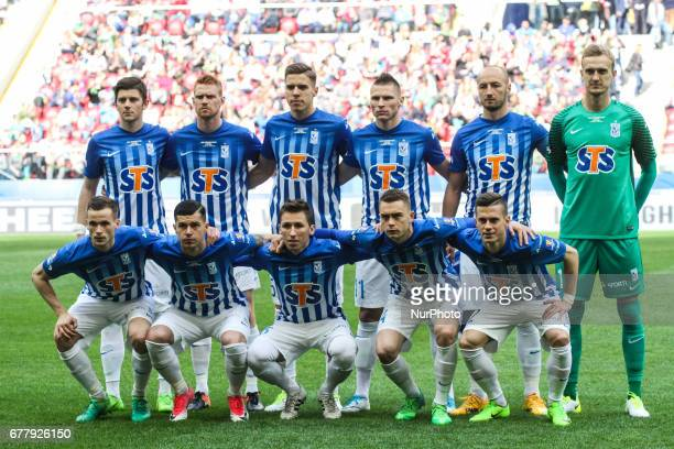 Lech team poses before the Polish FA Cup final match Arka Gdynia v Lech Poznan at the National Stadium in Warsaw Poland on 2 May 2017 Arka Gdynia won...