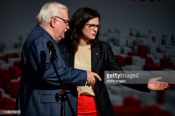 Lech Walesa and Aleksandra Dulkiewicz are seen during Freedom and Solidarity Days in Gdansk. Gdansk, in the 1980s became the birthplace of the...