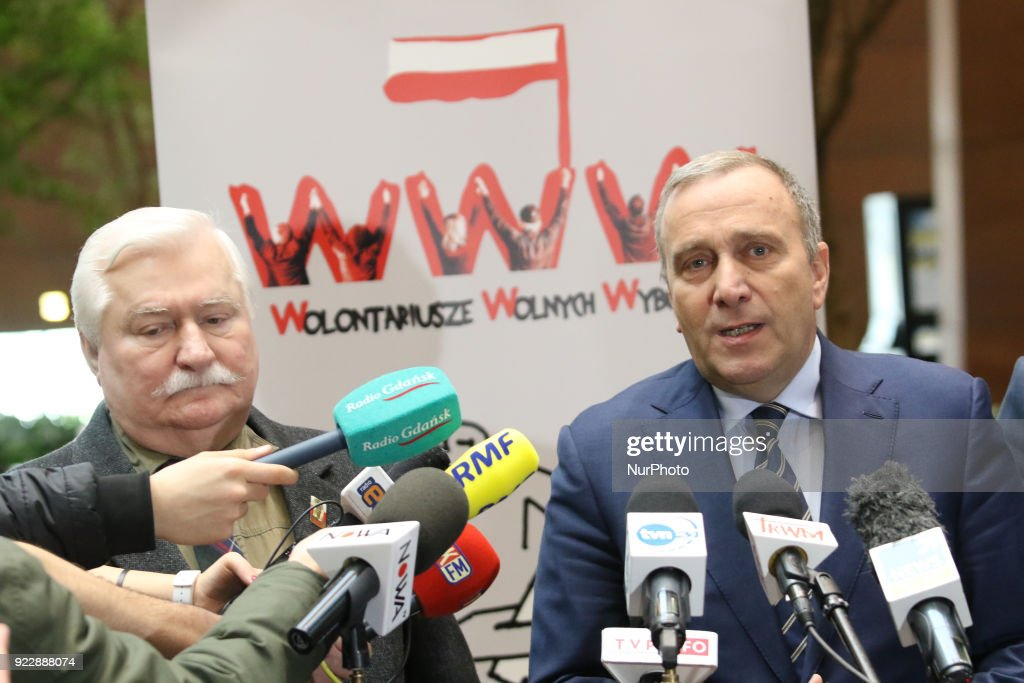 Lech Walesa and Grzegorz Schetyna press conference in Gdansk