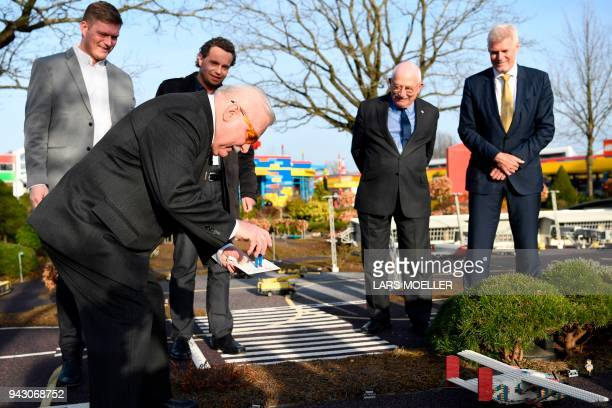 Lech Walesa former Polish President and former leader of the Independent Polish Trade Union Solidarity visits Legoland in Billund Denmark on April 7...