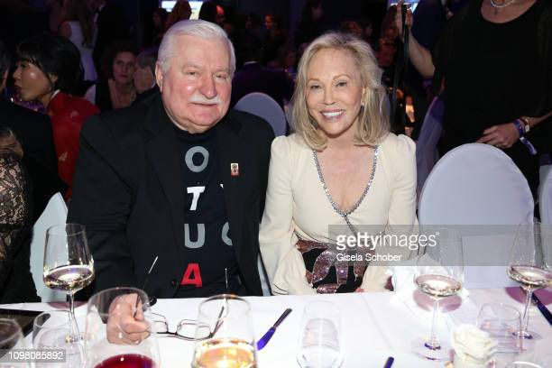Lech Walesa, former state president of Poland and Faye Dunaway during the Cinema for Peace Gala at the Westhafen Event & Convention Center on...