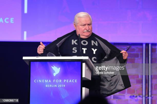 Lech Walesa, former state president of Poland, during the Cinema for Peace Gala at the Westhafen Event & Convention Center on February 11, 2019 in...