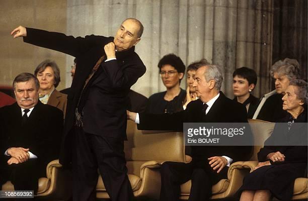 Lech Walesa Francois Mitterrand and Edouard Balladur in Paris France on April 20th 1995