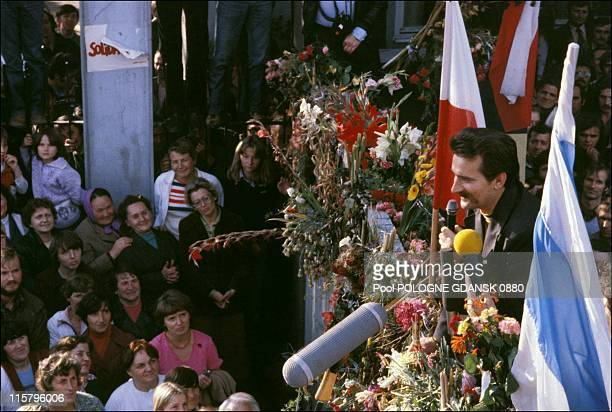 Lech Walesa looks on during Gdansk shipyards strike on August 21 1980 in Gdansk Poland Walesa served as President of Poland from 1990 1995 and won...