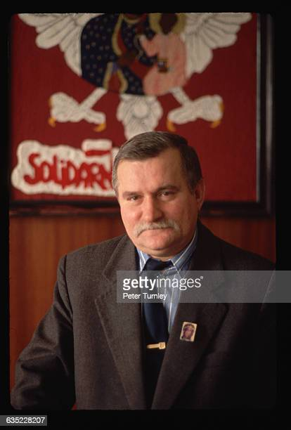 Lech Walesa seen here wearing a small image of the Virgin on his lapel helped form and eventually led Solidarnosc the first independent trade union...