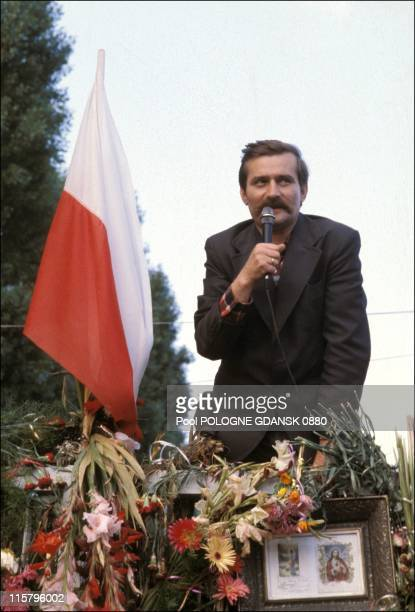 Lech Walesa speaks during a Gdansk shipyards strike on August 21, 1980 in Gdansk, Poland. Walesa served as President of Poland from 1990 - 1995 and...