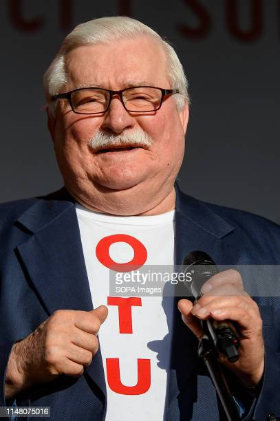 Lech Walesa speaks during mass meeting of Freedom and Solidarity Days in Gdansk. Gdansk, in the 1980s became the birthplace of the Solidarity...
