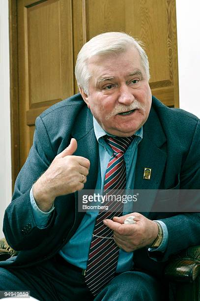 Lech Walesa who led the Solidarity movement that helped topple communism in Poland 20 years ago speaks during an interview at his office in Gdansk...