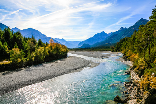 Lechriver at autumn, near Forchach, Lechtaler Alps, Tirol, Austria 910488804