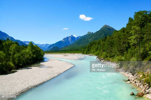 lechriver in summer, near forchach, lechtaler alps, tyrol, austria - lech stock pictures, royalty-free photos & images