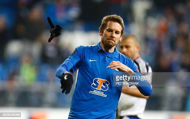 Lech's Kasper Hamalainen reacts during the UEFA Europa League football match between KKS Lech Poznan and FC Basel 1893 at Stadion Miejski in Poznan...
