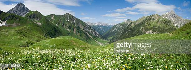 lechtal panorama - european alps stock photos and pictures